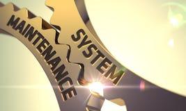 Έννοια συντήρησης συστημάτων Χρυσά μεταλλικά Cogwheels τρισδιάστατος Στοκ Εικόνα