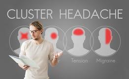 Έννοια συστάδων έντασης ημικρανίας συμπτώματος πονοκέφαλου Στοκ φωτογραφία με δικαίωμα ελεύθερης χρήσης