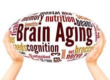 Έννοια σφαιρών χεριών σύννεφων λέξης γήρανσης εγκεφάλου διανυσματική απεικόνιση