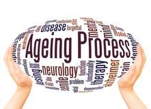 Έννοια σφαιρών χεριών σύννεφων λέξης διαδικασίας γήρανσης απεικόνιση αποθεμάτων