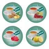 Έννοια σχεδίου ετικετών για το πράσινο τσάι διανυσματική απεικόνιση