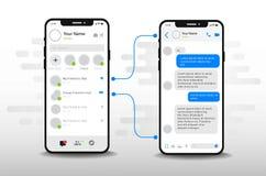 Έννοια σχεδίου εφαρμογής συνομιλίας UI Κοινωνικό πρότυπο οθόνης υπηρεσίας επικοινωνίας αγγελιοφόρων δικτύων ελεύθερη απεικόνιση δικαιώματος