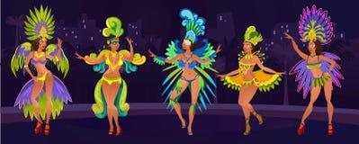 Έννοια σχεδίου καρναβαλιού με τις χορεύοντας γυναίκες Εορταστικό υπόβαθρο για το carnaval γεγονός στη Βραζιλία Εορταστική αφίσα μ διανυσματική απεικόνιση
