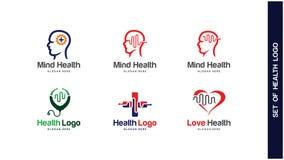 Έννοια σχεδίου λογότυπων υγείας, διαφορετικοί τύποι λογότυπων υγείας, απλό διάνυσμα σχεδίου λογότυπων Στοκ εικόνες με δικαίωμα ελεύθερης χρήσης