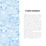 Έννοια σχεδίων γραμμών Δευτέρας Cyber Στοκ φωτογραφία με δικαίωμα ελεύθερης χρήσης