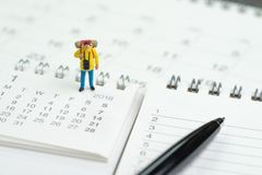 Έννοια σχεδίων ημερολογιακού έτους ταξιδιού, διακοπών ή διακοπών, miniatur Στοκ φωτογραφία με δικαίωμα ελεύθερης χρήσης