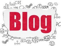 Έννοια σχεδίου Ιστού: Blog στο σχισμένο υπόβαθρο εγγράφου Στοκ εικόνες με δικαίωμα ελεύθερης χρήσης