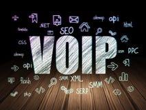 Έννοια σχεδίου Ιστού: VOIP στο σκοτεινό δωμάτιο grunge Στοκ εικόνες με δικαίωμα ελεύθερης χρήσης