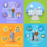 Έννοια σχεδίου ιδιωτικών κλινικών 2x2 απεικόνιση αποθεμάτων
