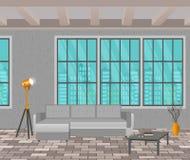 Έννοια σχεδίου σοφιτών Εσωτερικό καθιστικών στο ύφος hipster με το παράθυρο, τον καναπέ, τους λαμπτήρες και το πάτωμα τούβλου διανυσματική απεικόνιση