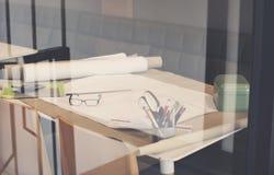 Έννοια σχεδίων σχεδιαγραμμάτων προγράμματος σχεδίου αρχιτεκτόνων Στοκ Φωτογραφία