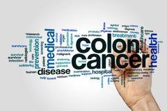 Έννοια σύννεφων λέξης καρκίνος του παχέος εντέρου στο γκρίζο υπόβαθρο στοκ φωτογραφία
