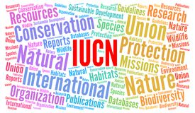 Έννοια σύννεφων λέξης IUCN ελεύθερη απεικόνιση δικαιώματος