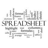 Έννοια σύννεφων του Word υπολογισμών με λογιστικό φύλλο (spreadsheet) σε γραπτό Στοκ Φωτογραφία