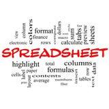 Έννοια σύννεφων του Word υπολογισμών με λογιστικό φύλλο (spreadsheet) στα κόκκινα καλύμματα Στοκ φωτογραφία με δικαίωμα ελεύθερης χρήσης