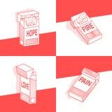 Έννοια, σύνολο πακέτου των τσιγάρων με το διαφορετικό πόνο επιγραφών, ελπίδα, αγάπη, πυρκαγιά διάφορες παραλλαγές διάνυσμα ελεύθερη απεικόνιση δικαιώματος