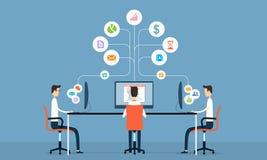 Έννοια σύνδεσης επικοινωνίας Διαδικτύου επιχειρησιακής τεχνολογίας διανυσματική απεικόνιση