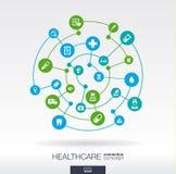 Έννοια σύνδεσης υγειονομικής περίθαλψης Αφηρημένο υπόβαθρο με τους ενσωματωμένους κύκλους και τα εικονίδια για ιατρικό, υγεία, πρ ελεύθερη απεικόνιση δικαιώματος
