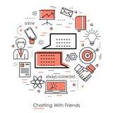 Έννοια τέχνης κόκκινων γραμμών - που κουβεντιάζει με τους φίλους διανυσματική απεικόνιση