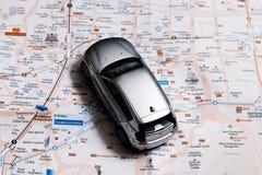 Έννοια ταξιδιού - μικρό αυτοκίνητο στο χάρτη πόλεων της Σεούλ Στοκ Εικόνες