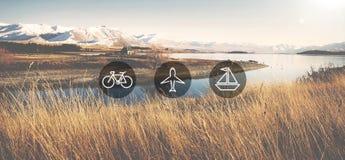 Έννοια ταξιδιού ταξιδιών ταξιδιού εικονιδίων μεταφορών μεταφορών Στοκ φωτογραφία με δικαίωμα ελεύθερης χρήσης