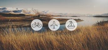 Έννοια ταξιδιού ταξιδιών ταξιδιού εικονιδίων μεταφορών μεταφορών Στοκ Εικόνες