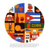 Έννοια ταξιδιού της Κούβας Αβάνα απεικόνιση αποθεμάτων