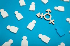 Έννοια ταυτότητας γένους, νέα τοποθέτηση φύλων, LGBT Αμφίφυλος, transgender στοκ εικόνα