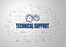 Έννοια τεχνικής υποστήριξης με το ύφος σχεδίου επιχειρησιακού Doodle: onl Στοκ Εικόνες