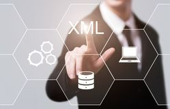 Έννοια τεχνολογίας Διαδικτύου ανάπτυξης Ιστού προγραμματισμού κώδικα XML Στοκ φωτογραφία με δικαίωμα ελεύθερης χρήσης