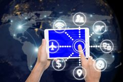 Έννοια τεχνολογίας σύνδεσης δικτύων - σύνδεση δικτύων partn Στοκ Φωτογραφίες