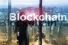 Έννοια τεχνολογίας Blockchain στο υπόβαθρο κεντρικών υπολογιστών Κρυπτογράφηση στοιχείων στοκ φωτογραφία