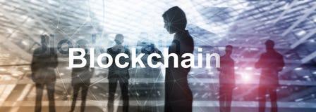 Έννοια τεχνολογίας Blockchain στο υπόβαθρο κεντρικών υπολογιστών Κρυπτογράφηση στοιχείων στοκ εικόνα
