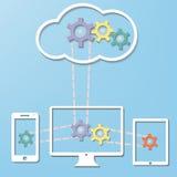 Έννοια τεχνολογίας Διαδικτύου υπολογιστών σύννεφων με το κοβάλτιο απεικόνιση αποθεμάτων
