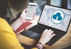 Έννοια τεχνολογίας σύνδεσης παγκοσμιοποίησης υπολογισμού σύννεφων Στοκ φωτογραφίες με δικαίωμα ελεύθερης χρήσης