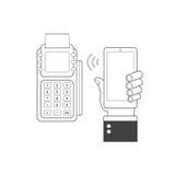 Έννοια τεχνολογίας NFC Smartphone και POS-τελικός, επεξεργασία των κινητών πληρωμών απεικόνιση αποθεμάτων