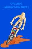 Έννοια της ανακύκλωσης του ποδηλάτου βουνών με το ξύλινο ανθρώπινο μανεκέν Στοκ Φωτογραφία