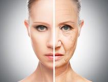 Έννοια της γήρανσης και της φροντίδας δέρματος στοκ εικόνα με δικαίωμα ελεύθερης χρήσης