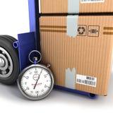Έννοια της γρήγορης παράδοσης, το κιβώτιο στο φορτηγό και το χρονόμετρο με διακόπτη Στοκ Εικόνες