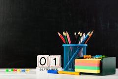 Έννοια της εκπαίδευσης, ο πρώτος του Σεπτεμβρίου ή πίσω στο σχολείο W Στοκ Φωτογραφίες