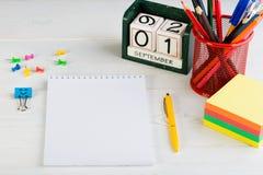 Έννοια της εκπαίδευσης, ο πρώτος του Σεπτεμβρίου ή πίσω στο σχολείο W Στοκ Φωτογραφία