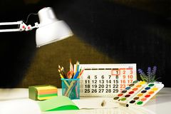 Έννοια της εκπαίδευσης, ο πρώτος του Σεπτεμβρίου ή πίσω στο σχολείο W Στοκ φωτογραφία με δικαίωμα ελεύθερης χρήσης
