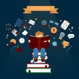Έννοια της εκπαίδευσης με τα βιβλία ανάγνωσης Στοκ φωτογραφία με δικαίωμα ελεύθερης χρήσης