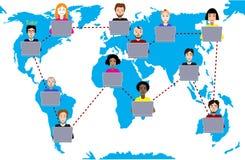 Έννοια της εξ αποστάσεως εκπαίδευσης και της ε-εκμάθησης Ο δάσκαλος καθοδηγεί τους σπουδαστές από τις διαφορετικές χώρες Υπόβαθρο Στοκ εικόνα με δικαίωμα ελεύθερης χρήσης