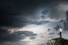 Έννοια της επιτυχίας και της επίτευξης του στόχου σας Μικτά μέσα Στοκ Εικόνες