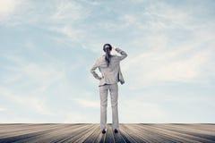 Έννοια της επιτυχίας με τη επιχειρηματία Στοκ Εικόνα