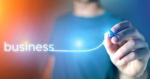 Έννοια της επιχειρησιακής επιτυχίας με να ανεβεί βελών σε μια τεχνολογία Στοκ Εικόνες