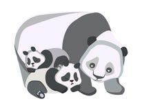 Έννοια της ευτυχούς οικογένειας, κινούμενα σχέδια, άγρια ζώα στο απομονωμένο υπόβαθρο στοκ εικόνα με δικαίωμα ελεύθερης χρήσης