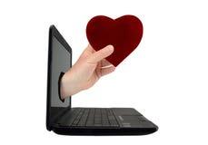 Έννοια της εύρεσης της αγάπης σε απευθείας σύνδεση Στοκ Φωτογραφίες