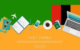 Έννοια της Ζάμπια επίσκεψης για το έμβλημα ή την τυπωμένη ύλη Ιστού σας απεικόνιση αποθεμάτων